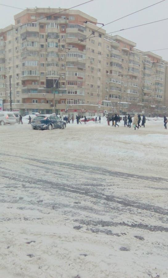 Chute de neige importante d'extrémité de la Roumanie image stock