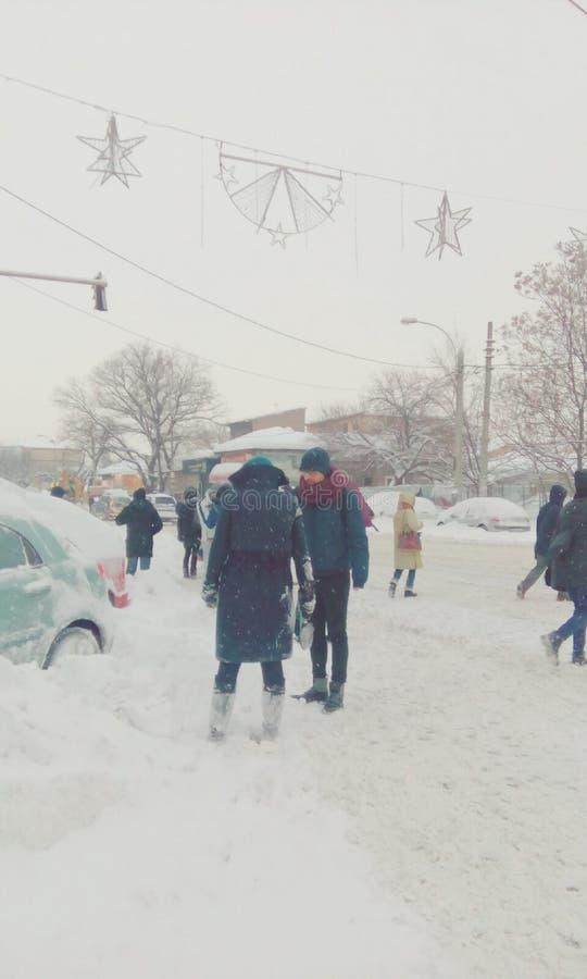 Chute de neige importante d'extrémité de la Roumanie photo stock