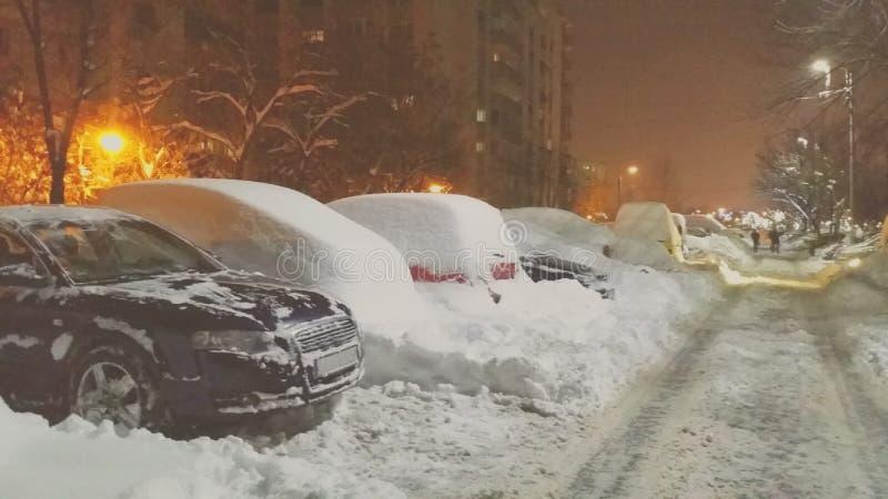 Chute de neige importante d'extrémité de la Roumanie photos stock