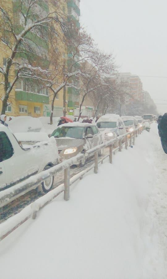Chute de neige importante d'extrémité de la Roumanie photos libres de droits