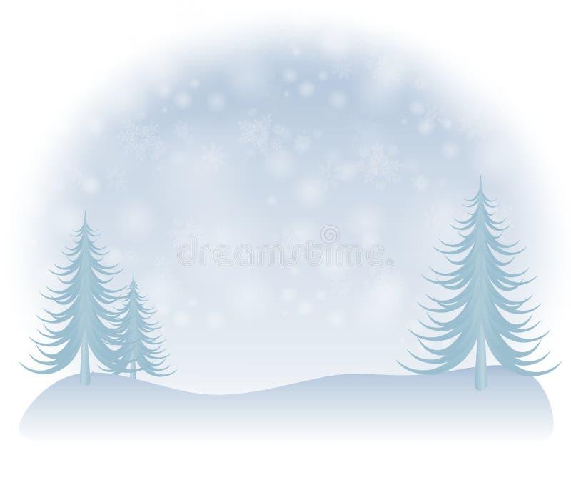 Chute de neige légère d'arbres de l'hiver illustration de vecteur