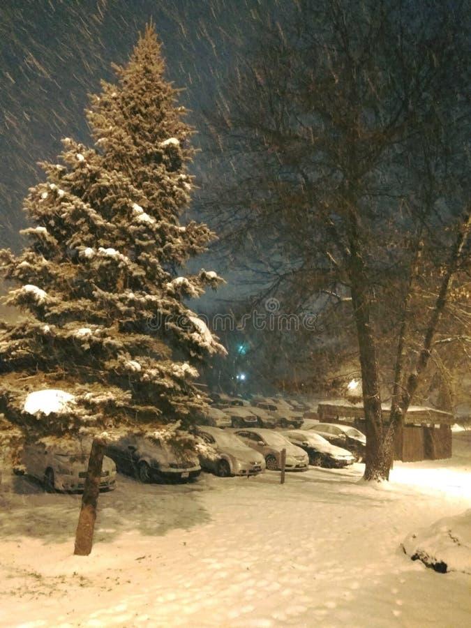 Chute de neige ma maison photo stock