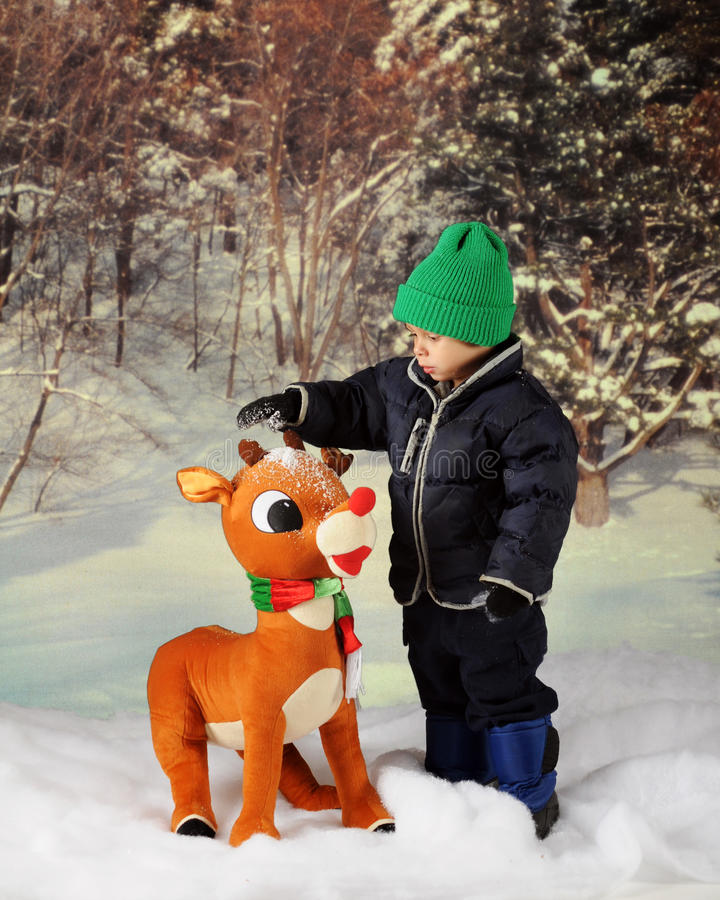 Chute de neige sur Rudolph photo libre de droits