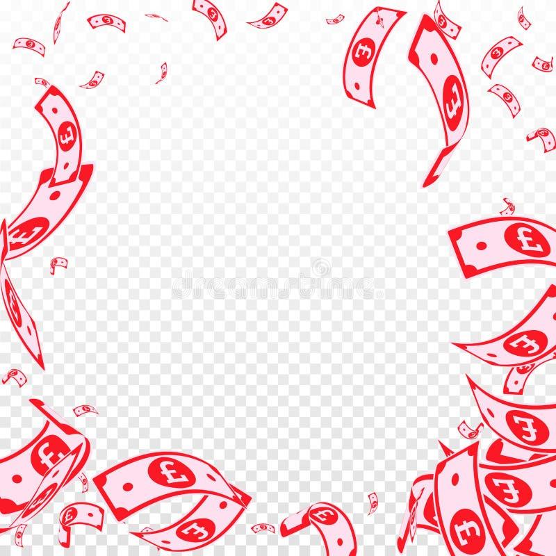 Chute de notes de livre britannique Factures aléatoires de GBP sur t illustration stock
