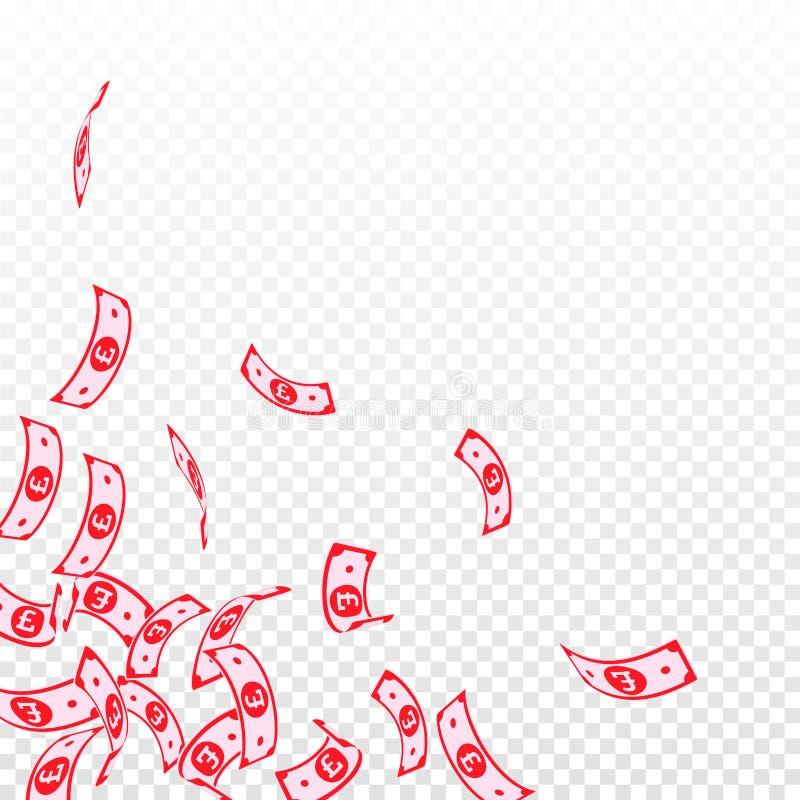 Chute de notes de livre britannique Factures de flottement de GBP dessus illustration de vecteur
