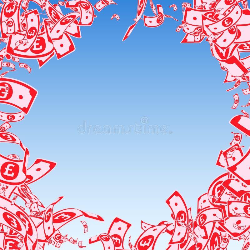 Chute de notes de livre britannique Factures malpropres de GBP sur le bl illustration libre de droits