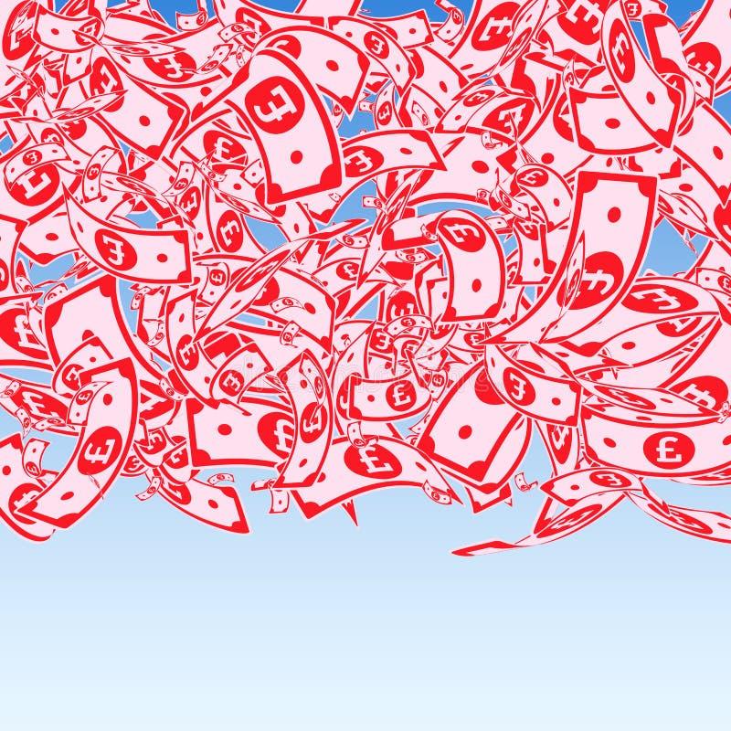 Chute de notes de livre britannique Factures malpropres de GBP sur le bl illustration de vecteur
