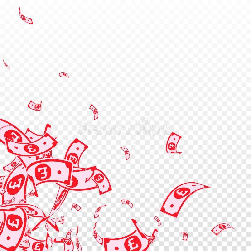 Chute de notes de livre britannique Factures malpropres de GBP sur le TR illustration stock