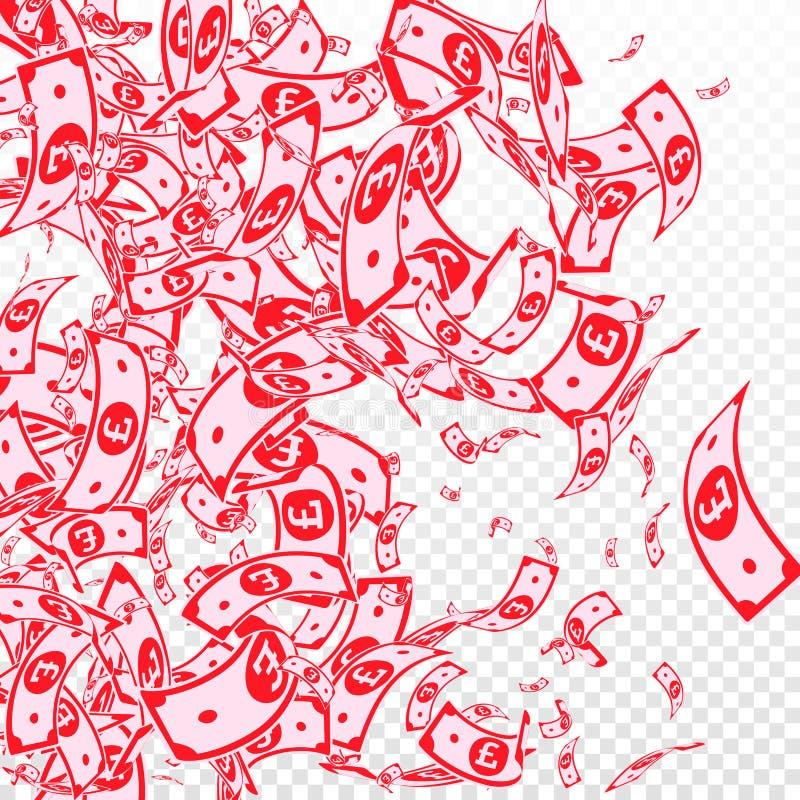 Chute de notes de livre britannique Factures malpropres de GBP sur le TR illustration de vecteur