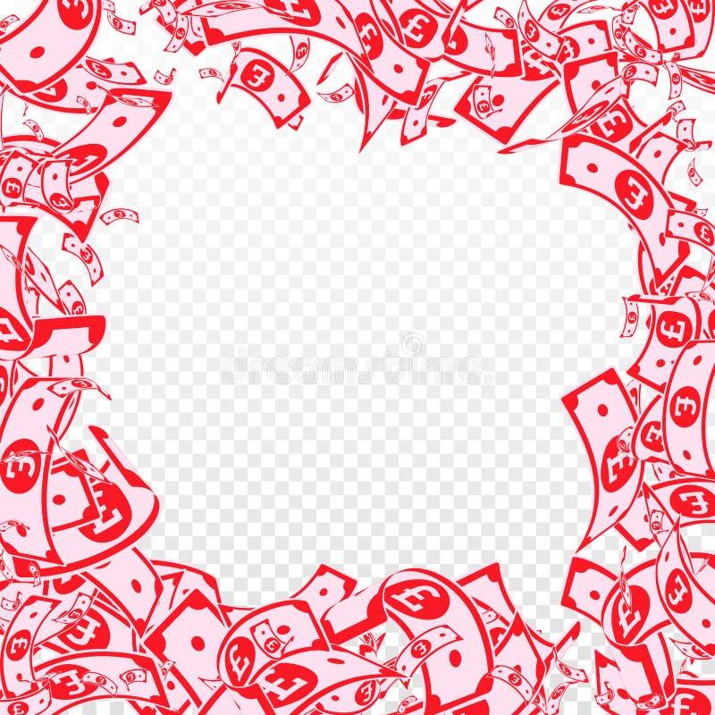Chute de notes de livre britannique Factures malpropres de GBP sur le TR illustration libre de droits