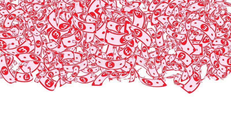 Chute de notes de livre britannique Factures malpropres de GBP sur le wh illustration stock