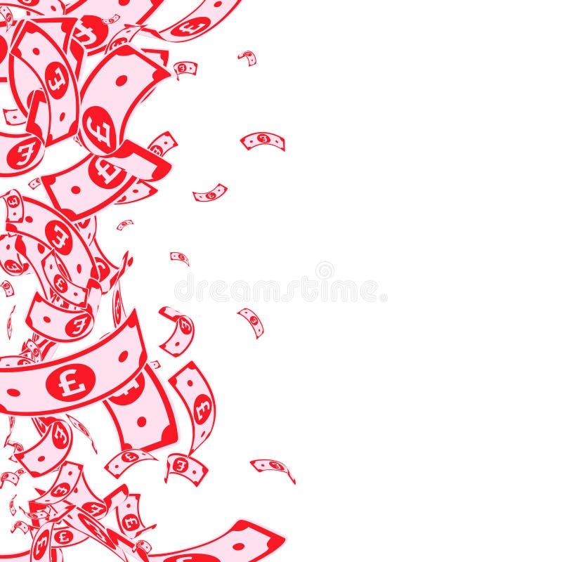 Chute de notes de livre britannique Factures malpropres de GBP sur le wh illustration de vecteur