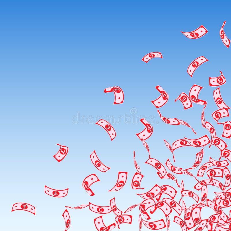 Chute de notes de livre britannique Petites factures de GBP sur le bl illustration libre de droits