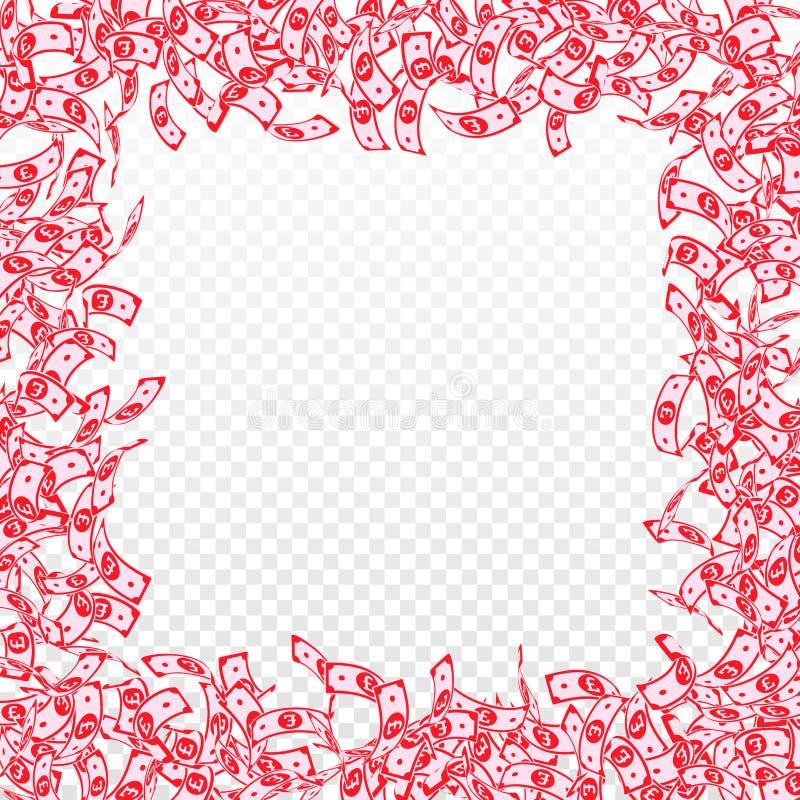 Chute de notes de livre britannique Petites factures de GBP sur le TR illustration de vecteur