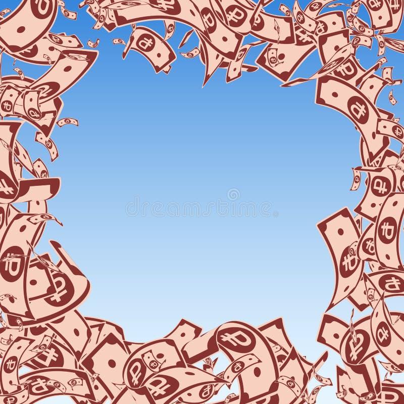 Chute de notes de rouble russe Factures malpropres de BANDE DE FROTTEMENT sur le bl illustration de vecteur