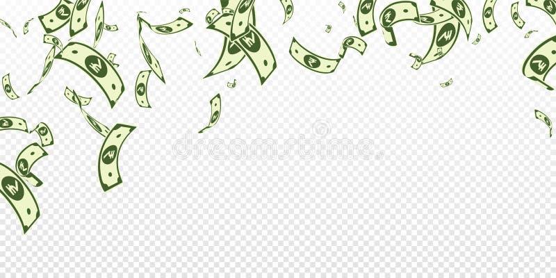 Chute de notes de roupie indienne Factures aléatoires d'INR sur le TR illustration de vecteur