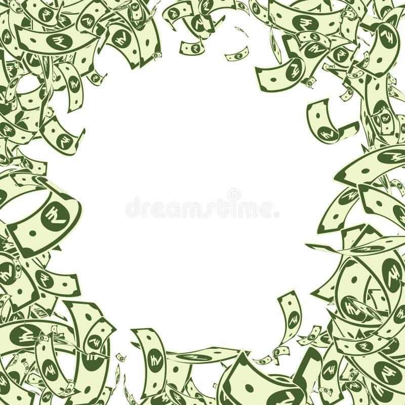 Chute de notes de roupie indienne Factures malpropres d'INR sur le whi illustration stock