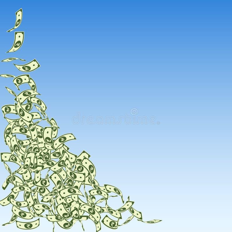 Chute de notes de roupie indienne Petites factures d'INR sur bleu illustration de vecteur