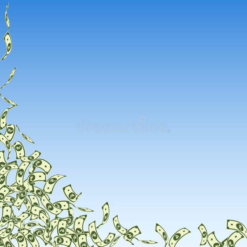 Chute de notes de roupie indienne Petites factures d'INR sur bleu illustration libre de droits