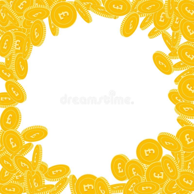 Chute de pièces de monnaie de livre britannique Grand coi dispersé de GBP illustration de vecteur
