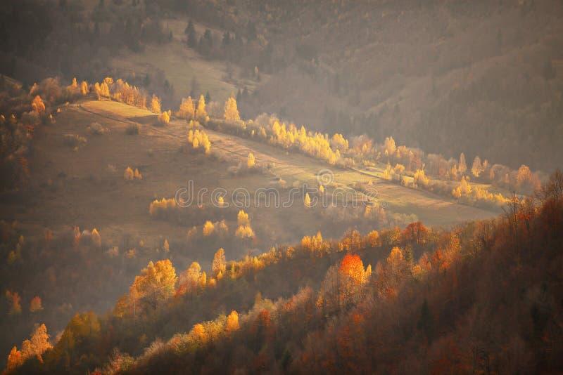 Chute en collines de montagne Scène d'octobre photographie stock