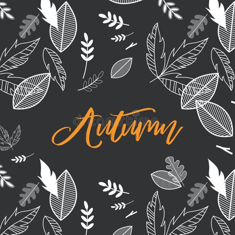Chute, illustration de vecteur de saison d'automne avec le fond de chute de griffonnage Concevez pour l'affiche, carte, invitatio illustration de vecteur