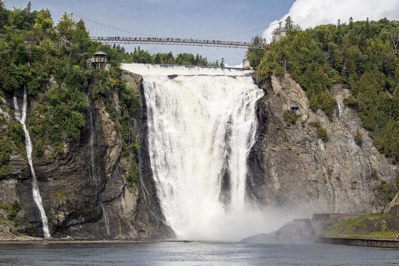 Chute Montmorency waterfalls near Quebec City. In horizontal picture royalty free stock photo