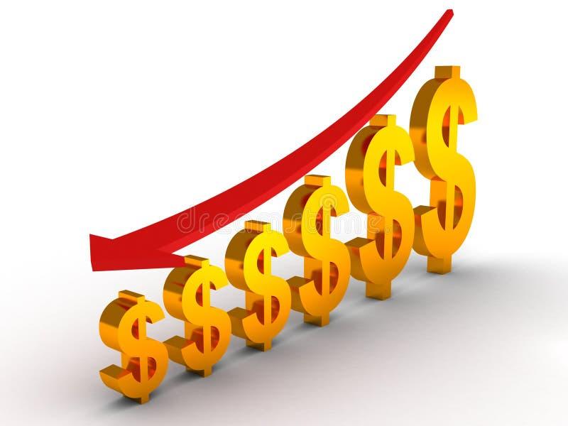 Chute vers le bas graphique du dollar illustration libre de droits