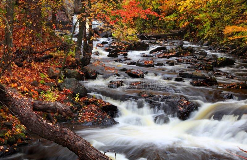 Chutes de l'eau au Québec rural dans le temps d'automne photo stock