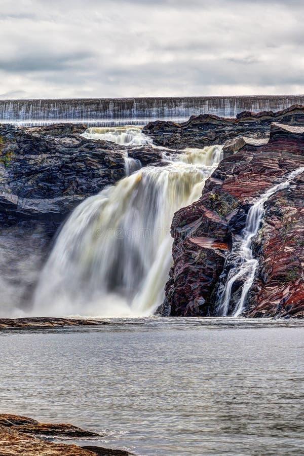 Chutes de la Chaudiere in Levis, Quebec, Canada. Chutes-de-la-Chaudiere or Chaudiere Falls are 35-meter high waterfalls in Levis, Quebec, that are the last and stock photo