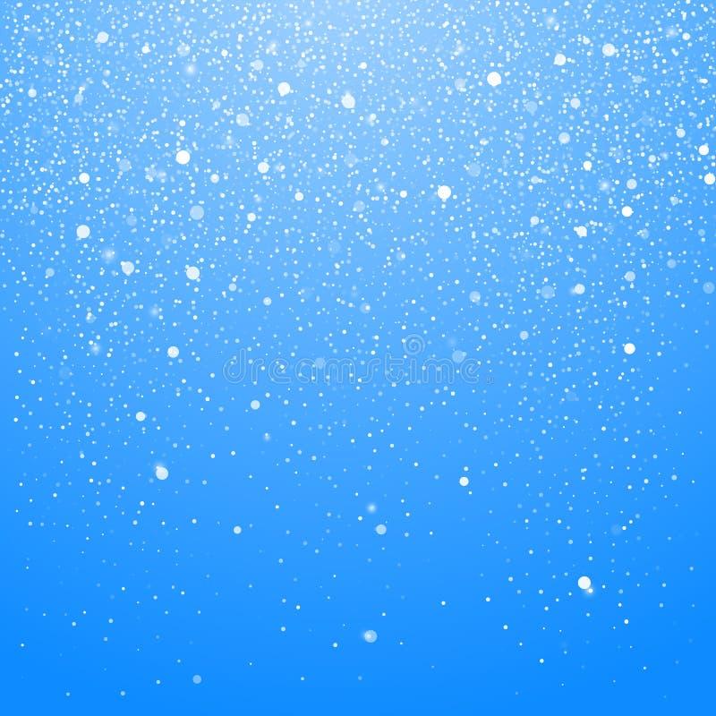 Chutes de neige d'isolement sur le fond bleu Fond de Noël d'hiver avec le ciel bleu Neige brillante en baisse de No?l belle Vecte illustration stock