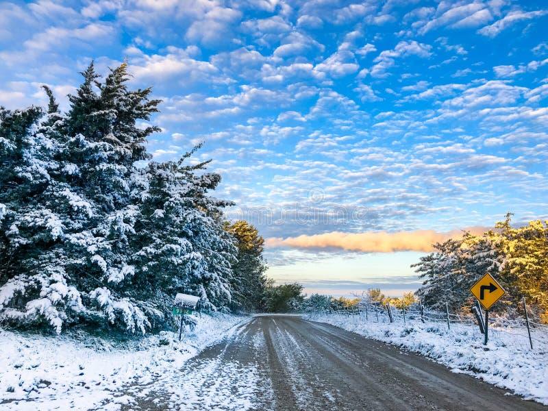 Chutes de neige d'octobre au Kansas image stock