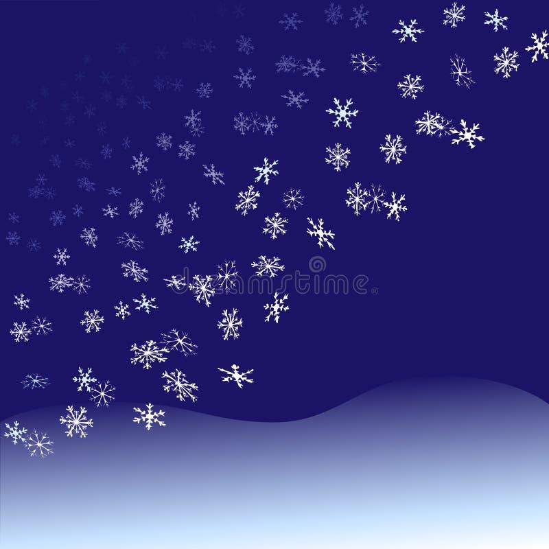 Chutes de neige de flocons de neige de tombée de la nuit illustration libre de droits