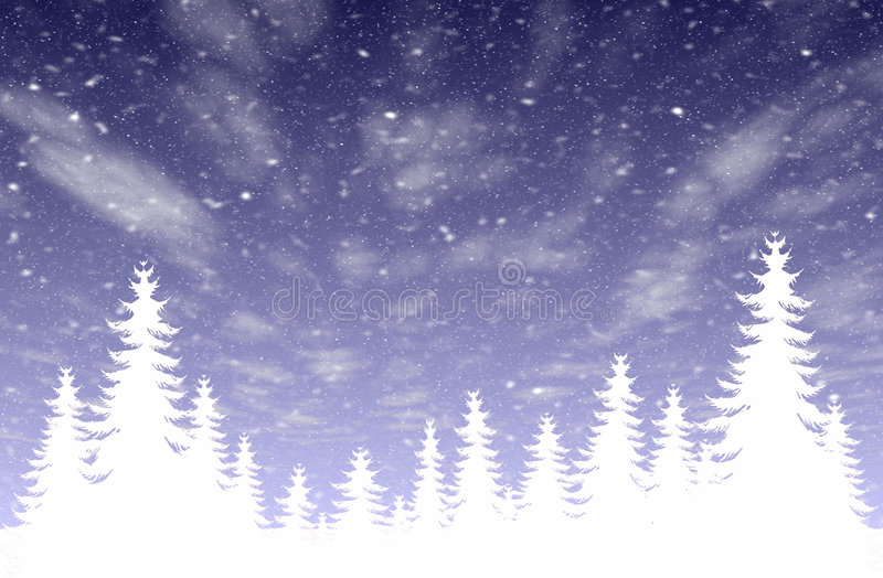 Chutes de neige et forêt illustration stock