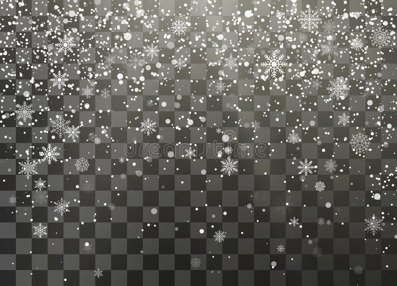 Chutes de neige foncées de vacances de nignt d'isolement sur le fond transparent Flocons de neige en baisse Élément décoratif de  illustration stock