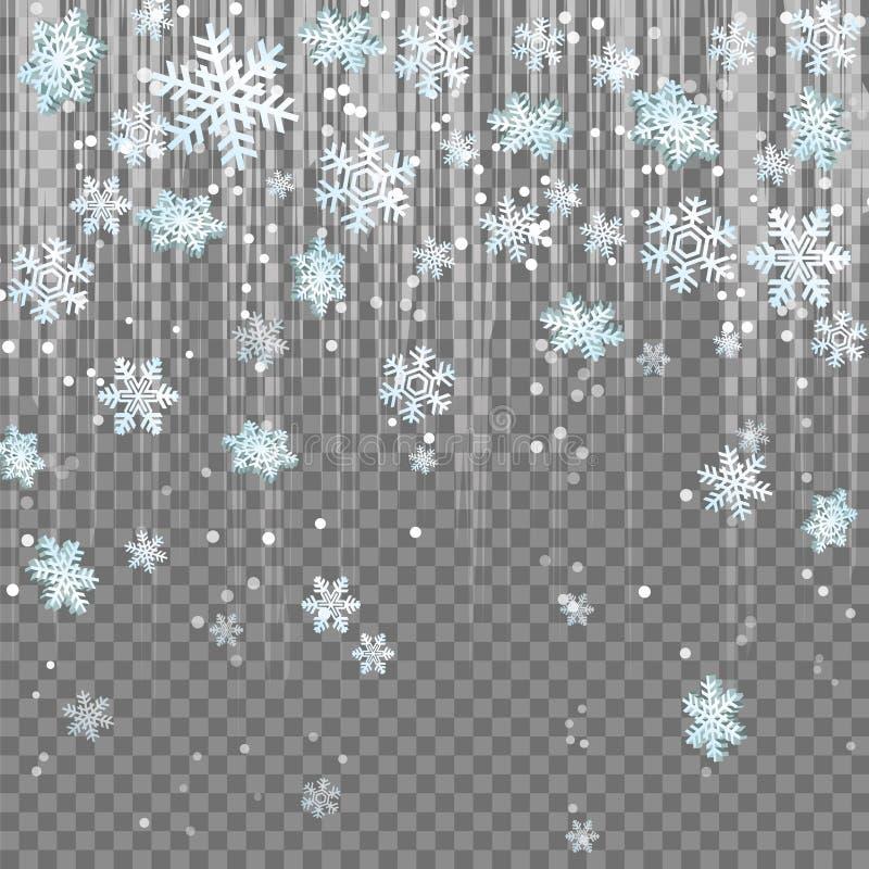 Chutes de neige givrées d'effet de fusée de lentille de faisceau lumineux de flocons de neige d'hiver illustration libre de droits