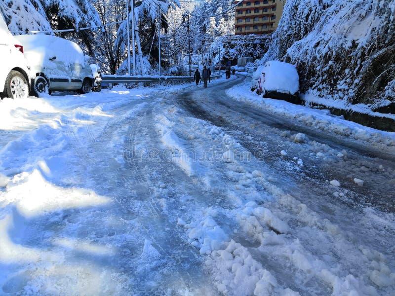 Chutes de neige lourdes à Shimla images libres de droits