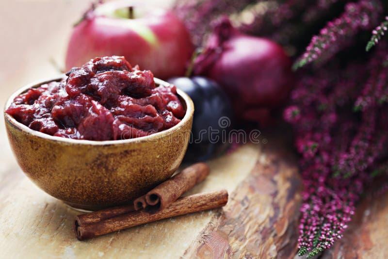 Chutney da ameixa e da maçã imagens de stock