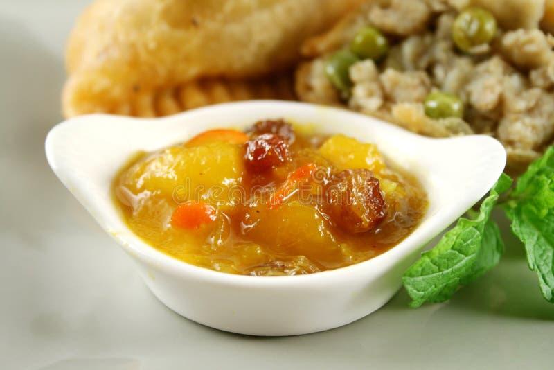 chutney mango samosa zdjęcie royalty free