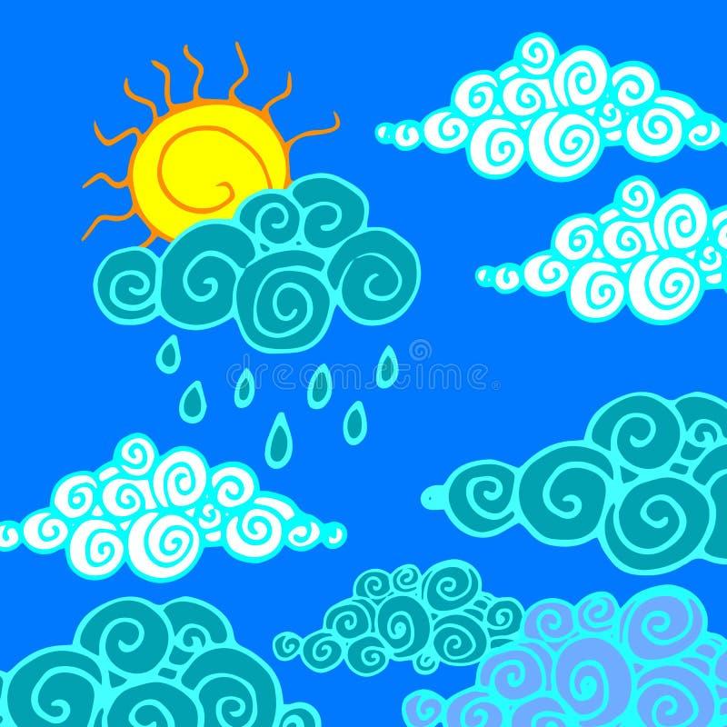 Chuva da natureza do clima do fundo do tempo do céu do vetor ilustração do vetor