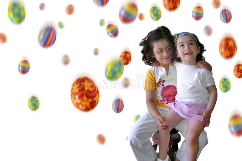 Chuva de Easter no branco imagem de stock royalty free