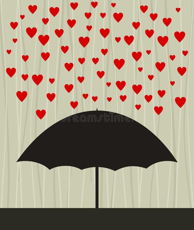 Chuva do coração ilustração stock