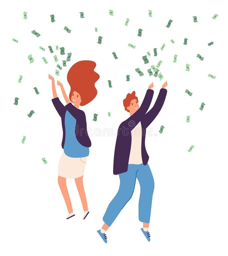 Chuva do dinheiro dos povos As pessoas felizes que chovem moedas de ouro dos dólares do dinheiro descontam o depósito afortunado  ilustração stock
