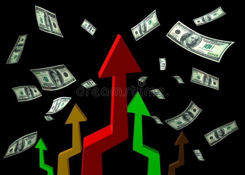 Chuva do dinheiro e carta ascendente ilustração do vetor