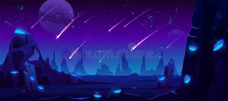 Chuva do meteoro no céu noturno, fundo de néon do espaço ilustração royalty free