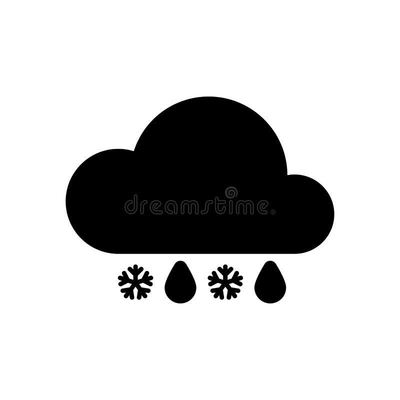 Chuva do tempo com o ícone da neve simples ilustração do vetor