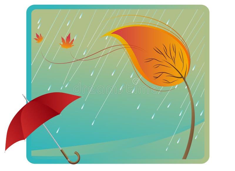 Chuva e guarda-chuva ilustração royalty free