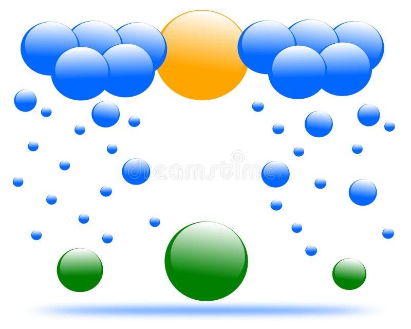 Chuva e nuvem de tiragem do logotipo ilustração do vetor