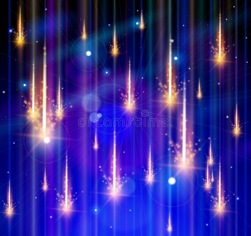 Chuva, espaço & estrelas do meteoro ilustração do vetor