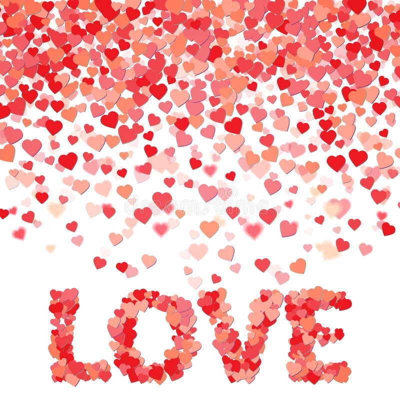 Chuva feita de corações pequenos Amor da palavra do formulário dos corações Aperfeiçoe para o dia do ` s do Valentim ou a outra c imagens de stock